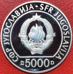 Moneda > 5000dinares, 1985 - Yugoslavia  (40º Aniversario - Liberación del Fascismo) - obverse