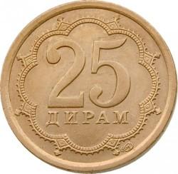 Moneda > 25diram, 2006 - Tayikistán  (Acero chapado en latón /magnética/) - reverse