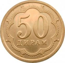 Moneda > 50diram, 2006 - Tayikistán  (Acero chapado en latón /magnética/) - reverse