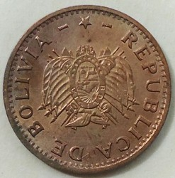 Mynt > 10 centavos, 1997 - Bolivia  (Copper plated Steel /brown color/) - obverse