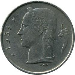 """Minca > 1frank, 1953 - Belgicko  (Nadpis v holandčine - """"BELGIE"""") - obverse"""