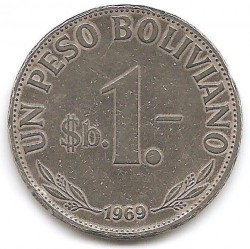 Monēta > 1peso, 1968-1980 - Bolīvija  - obverse