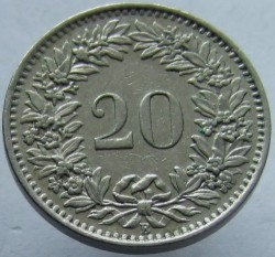 Coin > 20 rappen, 1963 - Switzerland  - obverse