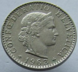 Coin > 20 rappen, 1963 - Switzerland  - reverse