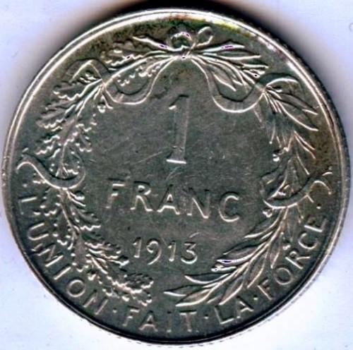 1 Frank 1910 1918 Albert Roi Des Belges Belgia Km 72