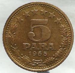 Monedă > 5parale, 1965 - Iugoslavia  (6 stars above '5 PARA') - reverse