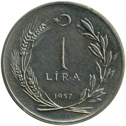 Moneta > 1lira, 1957 - Turkija  - obverse