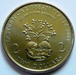 Moneta > 2dollari, 2011 - Caraibi Orientali  (10° anniversario - Mese d'informazione finanziaria) - reverse