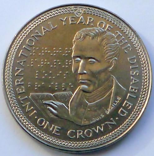 1 Krone 1981 Louis Braille Isle Of Man Münzen Wert Ucoinnet