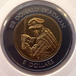 Moneta > 5dollari, 1996-1997 - Australia  (Sir Donald Bradman) - obverse