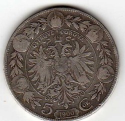 Moneda > 5kronen, 1900-1907 - Àustria  - reverse