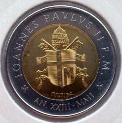 Minca > 500lire, 2001 - Vatikán  - reverse