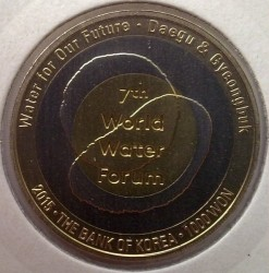 Moeda > 1000 won, 2015 - Coreia do Sul  (7th World Water Forum in Daegu) - obverse