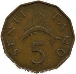 Moneta > 5senti, 1966-1984 - Tanzania  - obverse