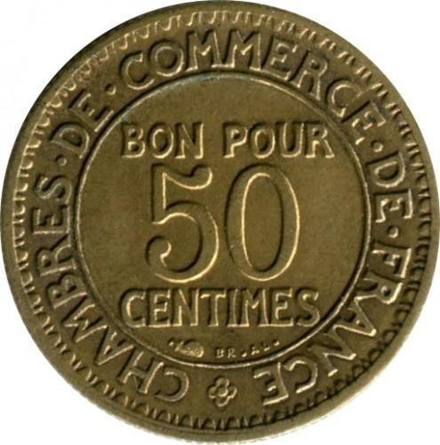 Francia 50 centesimi 1921 1929 km 884 catalogo monete for Bon pour 2 francs 1925 chambre commerce
