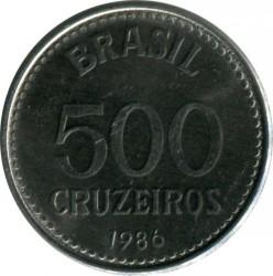 Coin > 500cruzeiros, 1985-1986 - Brazil  - obverse