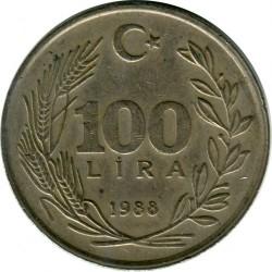 Coin > 100lira, 1988 - Turkey  (Copper-Nickel-Zinc /gray color/, 11g, 30mm) - obverse