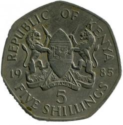 Монета > 5шиллингов, 1985 - Кения  - obverse