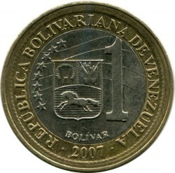 Moneta > 1bolivaras, 2007-2009 - Venesuela  - obverse