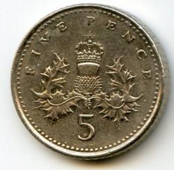Монета > 5пенсів, 1998-2008 - Велика Британія  - reverse