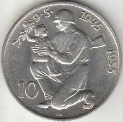 Moneta > 10corone, 1955 - Cecoslovacchia  (10° anniversario - Liberazione dalla Germania) - obverse