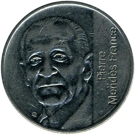 FRANCE 5 francs 1992 pierre MENDES FRANCE ca