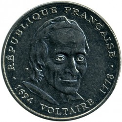 سکه > 5فرانک, 1994 - فرانسه  (300th Anniversary - Birth of Voltaire) - obverse