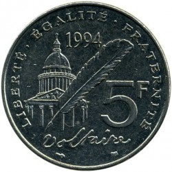Coin > 5 francs, 1994 - France  (300th Anniversary - Birth of Voltaire) - reverse