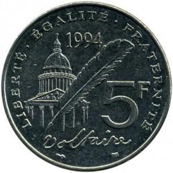 سکه > 5فرانک, 1994 - فرانسه  (300th Anniversary - Birth of Voltaire) - reverse
