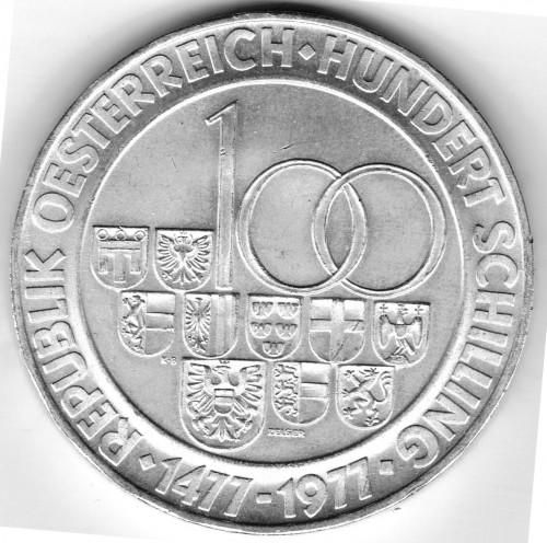 100 Schilling 1977 Münze Wien österreich Münzen Wert Ucoinnet