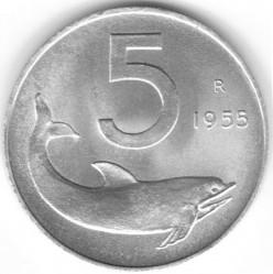 Кованица > 5лира, 1951-2001 - Италија  - reverse