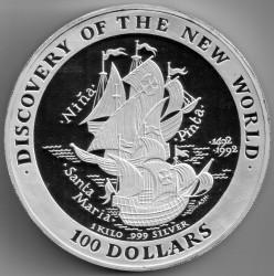 Монета > 100долларов, 1992 - Багамы  (Открытие Нового Света) - reverse