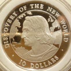 硬币  /> 10元, 1990 - 巴哈马 (Discovery of the New World - Christopher Columbus) - obverse