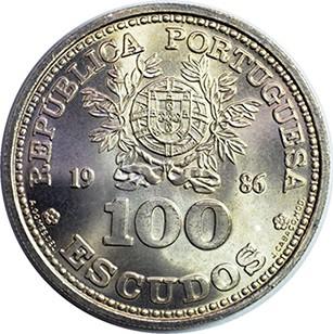 WORLD CUP MEXICO 1986 UNC 100 ESCUDOS PORTUGAL COMMEMORATIVE COIN