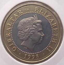 Moneta > 2sterline, 1998 - Gibilterra  (Le 12 fatiche di Ercole - Idra di Lerna) - obverse