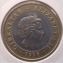 Moneta > 2sterline, 1998 - Gibilterra  (Le 12 fatiche di Ercole - La cerva di Cerinea) - obverse