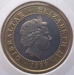 Moneta > 2sterline, 1999 - Gibilterra  (Le 12 fatiche di Ercole - Le cavalle di Diomede) - obverse