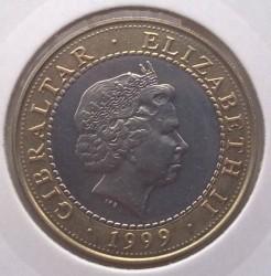 Moneta > 2sterline, 1999 - Gibilterra  (Le 12 fatiche di Ercole - Gli uccelli del lago Stinfalo) - obverse
