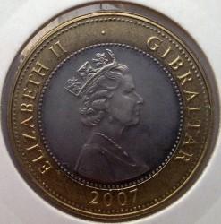 Moneta > 2sterline, 2007 - Gibilterra  (60° anniversario - Matrimonio della regina Elisabetta II e del principe Filippo) - obverse