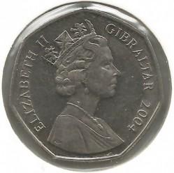 Moneta > 50pence, 2004 - Gibilterra  (300° anniversario - Cattura di Gibilterra, battaglia di Trafalgar) - obverse