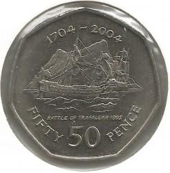 Moneta > 50pence, 2004 - Gibilterra  (300° anniversario - Cattura di Gibilterra, battaglia di Trafalgar) - reverse