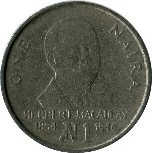 Coin 1 Naira 1991 1993 Nigeria Obverse