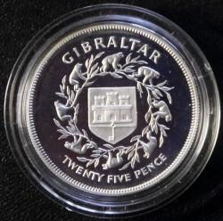 Moneta > 25nuovipence, 1977 - Gibilterra  (25° anniversario - Regno della regina Elisabetta II) - reverse