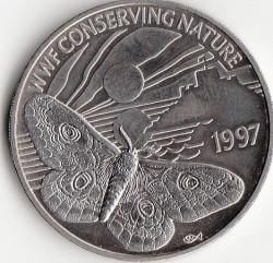 Moneta > 2funty, 1997 - Guernsey  (Światowy Fundusz na rzecz Przyrody - Pawica grabówka) - reverse