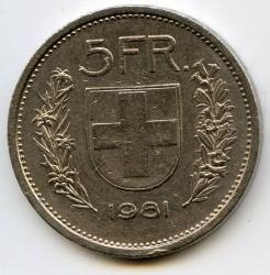 Moneta > 5franków, 1981 - Szwajcaria  - reverse