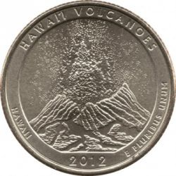 Coin > 25 cents (quarter), 2012 - USA  (Hawaii Volcanoes National Park Quarter) - reverse