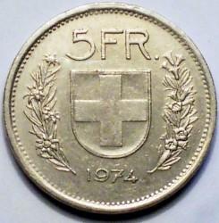 Moneta > 5franków, 1974 - Szwajcaria  - reverse