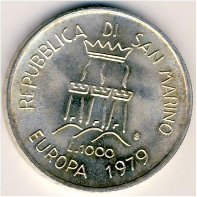 1000 Lire 1979 European Unity San Marino Münzen Wert Ucoinnet