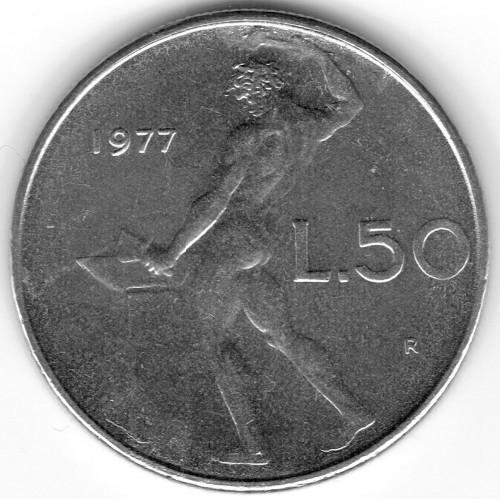 L 50 Italian Coin Value 1977