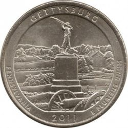 Moneda > ¼ dólar, 2011 - Estados Unidos  (Gettysburg National Military Park Quarter) - reverse